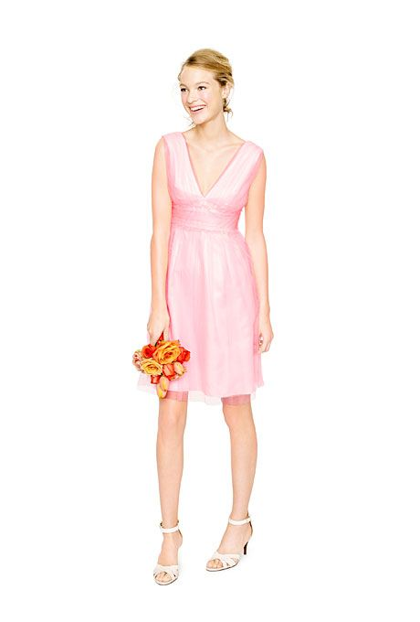J.Crew A-line, V-neck pink bridesmaid dress.
