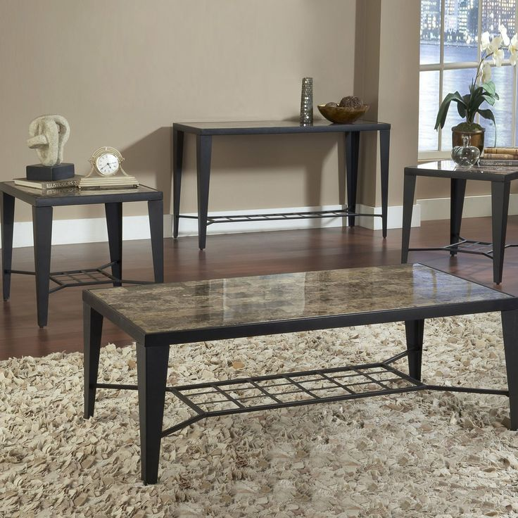 Bernards 9014 Faux Marble Coffee Table Set 3 Pack