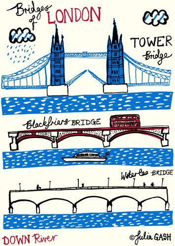 Bridges of London - Down River by Julia Gash