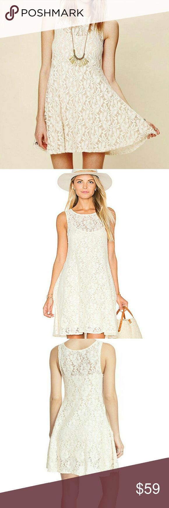 Free People Lace Dress Lace Ivory color Slip is included  Length is above the knee Free People Dresses Mini