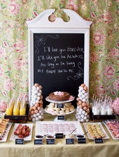 brunch ideas with chalk board and saying behind it! Food table must