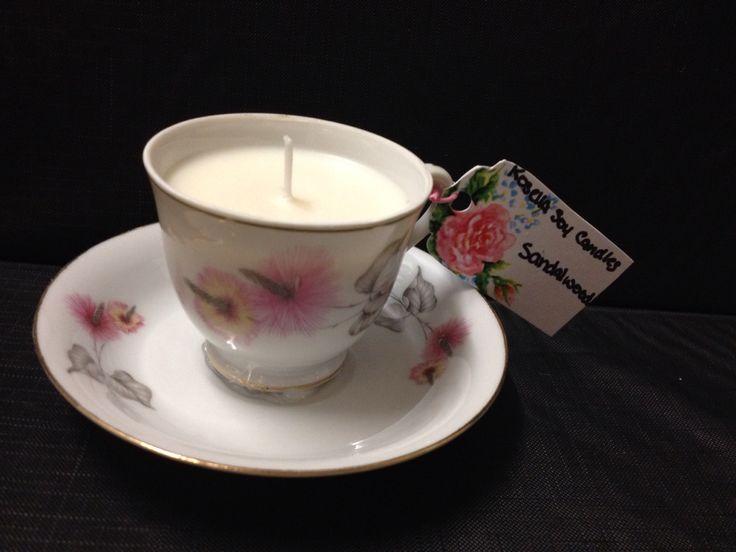 Sandalwood vintage teacup candle