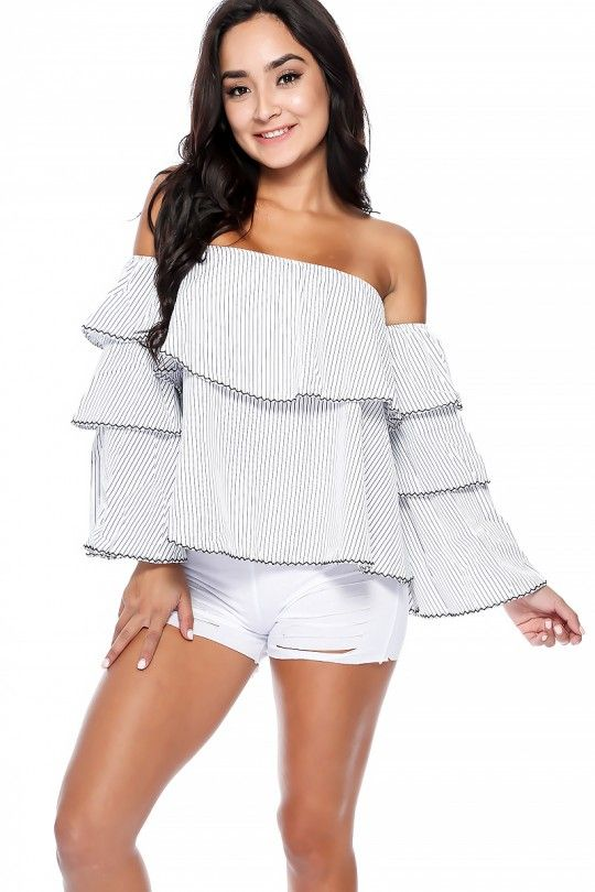 60344821fd9c7 Sexy White Black Striped Off The Shoulder Flared Long Sleeve Casual ...