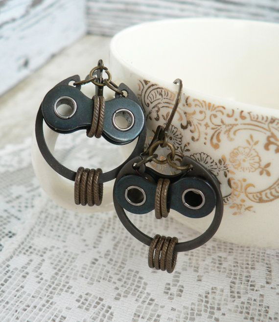 "Owl Earrings: Bronze & Black with Steel Bicycle Chain Hardware. 2 1/4"" Total Length, they give you lots of Movement, and are very comfortable to wear. #owl #earrings #bicycle"