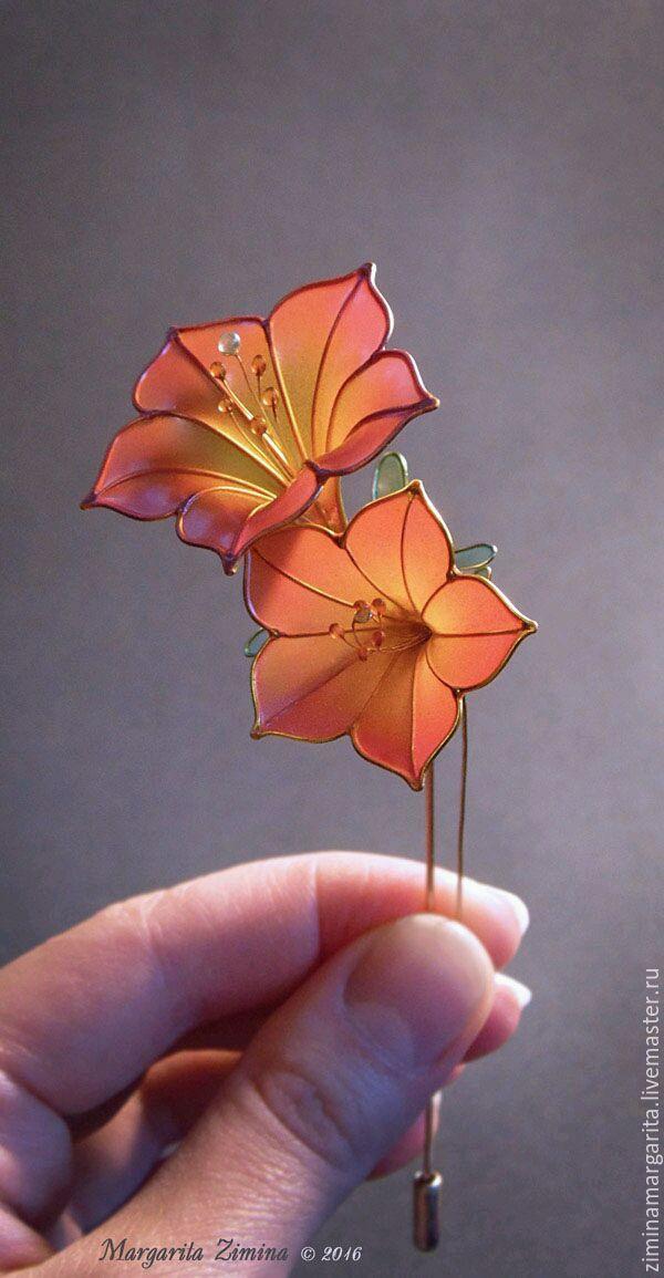 Купить Розовая Петуния. Брошь. Ювелирное украшение. - осенние цветы, нежные цветы, прозрачный цветок