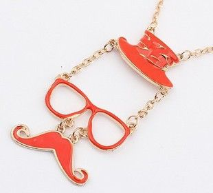 Mustache glasses hat necklace pendant several color options DIY phone | chriszcoolstuff - Craft Supplies on ArtFire