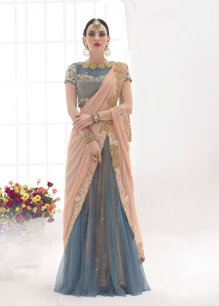 Peach and Grey Net Lehenga Style Saree With Blouse Online shopping : 788SR04