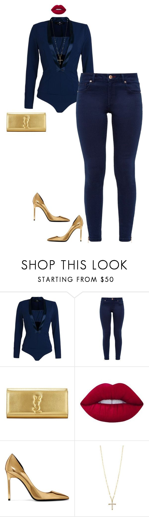 """""""Untitled #332"""" by sb187 ❤ liked on Polyvore featuring Elisabetta Franchi, Ted Baker, Lime Crime, Yves Saint Laurent and Lana Jewelry"""