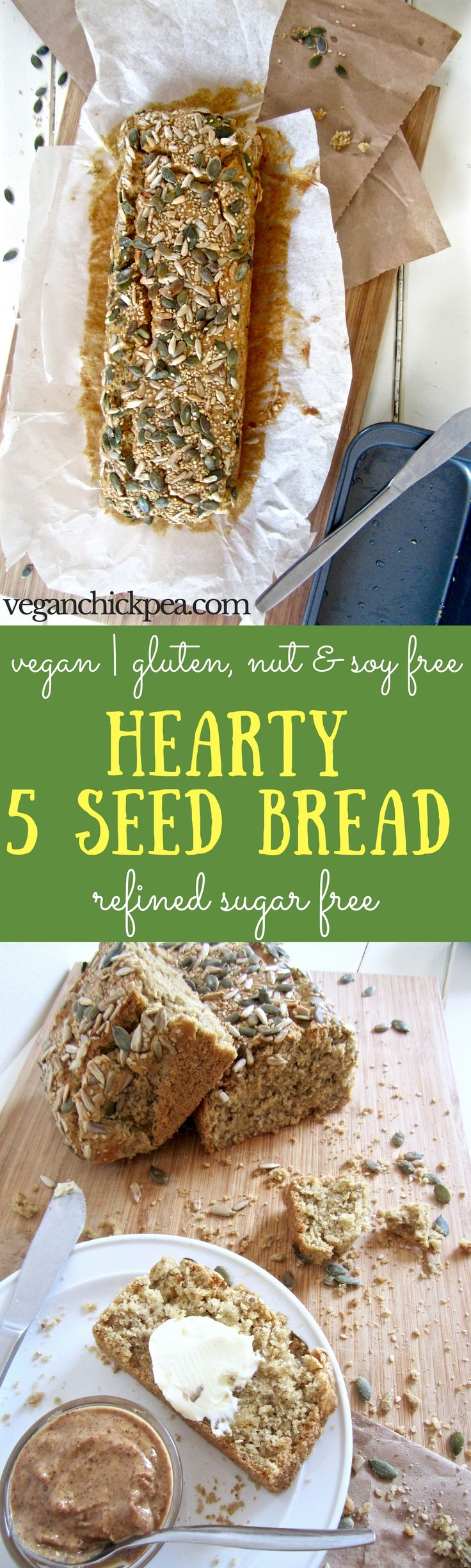 Hearty 5 Seed Bread recipe - an everyday bread that is vegan, gluten / nut / refined sugar free! | veganchickpea.com