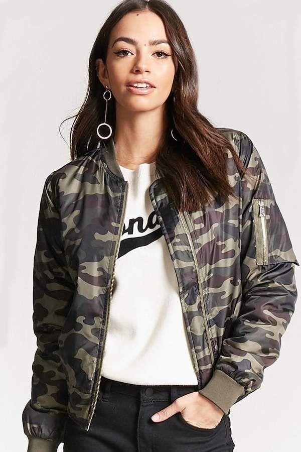 ce4951b1a Forever 21 Camo Print Bomber Jacket | Beauty Style | Camo bomber ...