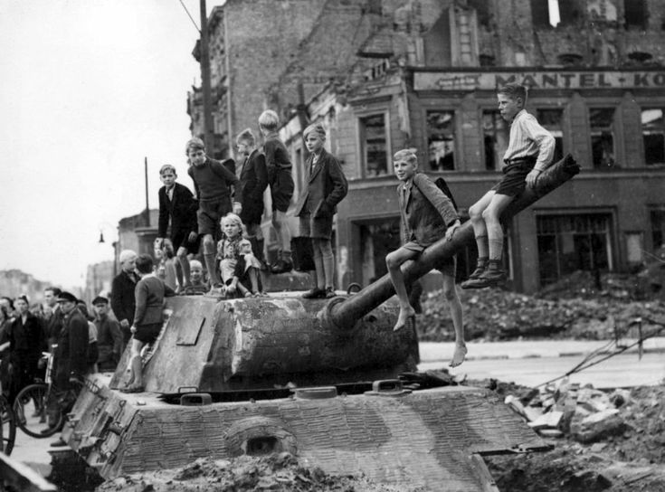 Berlin, July-August 1945. Panther Barge Ausf. G used as a fixed position