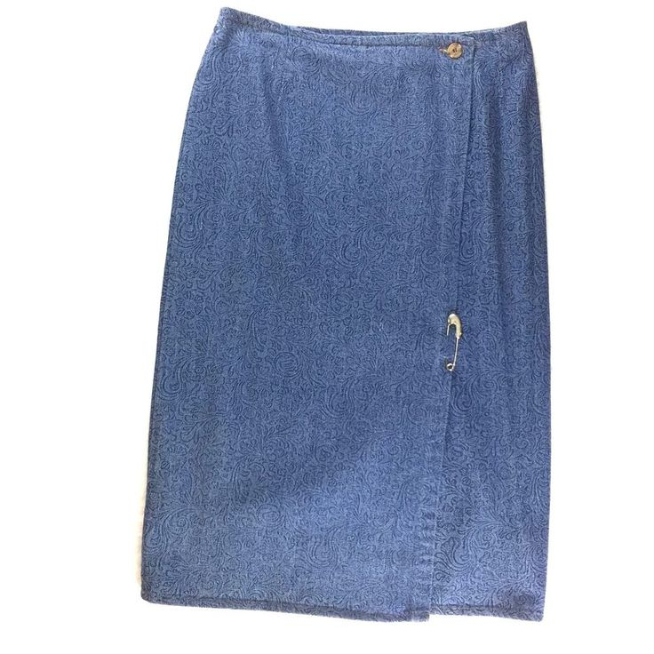Women Long Denim Blue Jean Skirt Size 12 Western Modest Maxi Sarong Wrap Cotton  #Rivington #WrapSarong