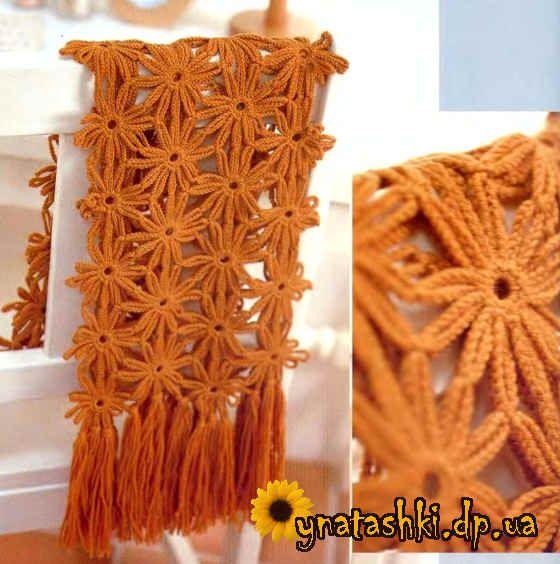 Scarf crochet flowers