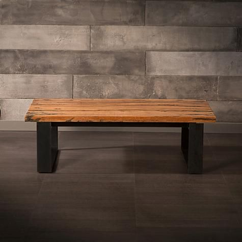 Coffee Table Made of Recycled Wood from Railway Tracks with Black Metal Legs