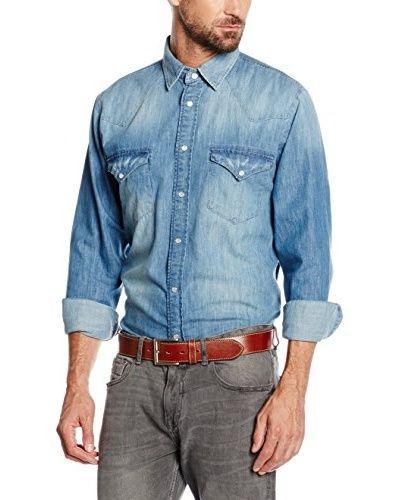 Cortefiel Hemd Denim Denim Aged Western [blau]