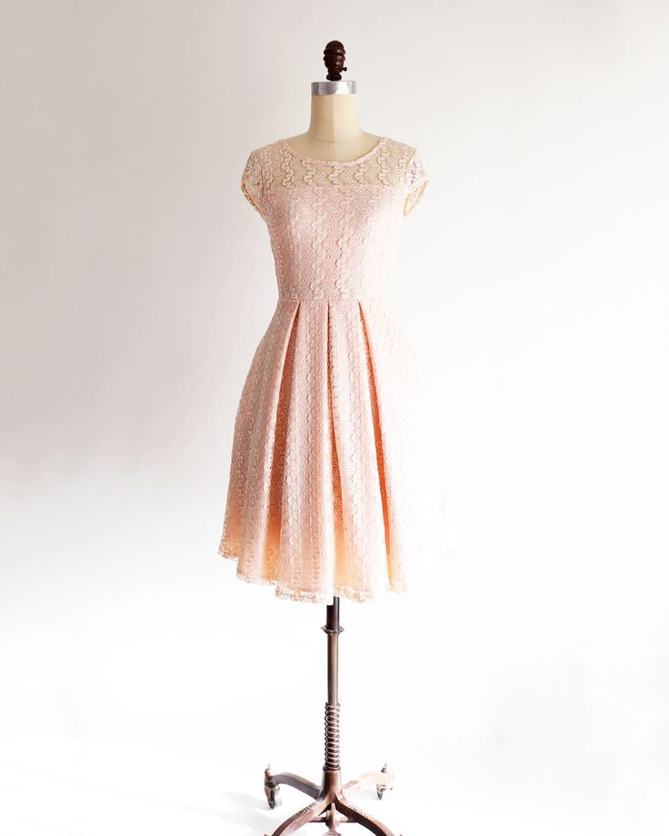 GOSSAMER | Petal-  pearl pink lace bridesmaid dress. blush pink nude cocktail dress. peach lace vintage inspired party dress with sleeves. by ShopApricity on Etsy https://www.etsy.com/listing/231713953/gossamer-petal-pearl-pink-lace