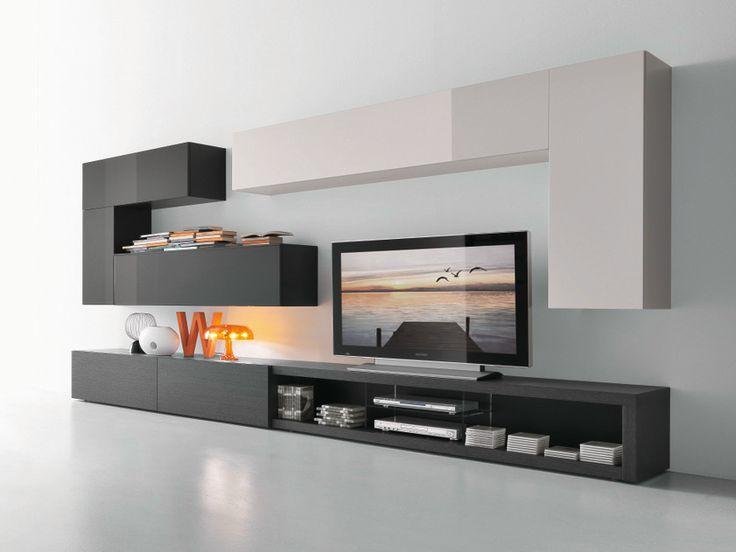 mueble modular de pared composable con soporte para tv cf66 colecci n modus by presotto. Black Bedroom Furniture Sets. Home Design Ideas