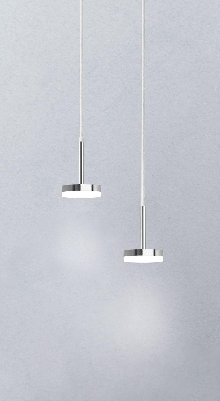 Jupiter LED pendant available in chrome and white.