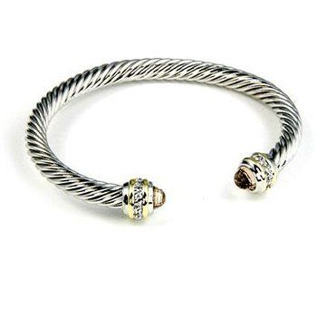 14k Gold and White Gold Rhodium Bonded Twisted Cable Cuff Bangle With CZ Accents in Silvertone glitzs.com. $28.60