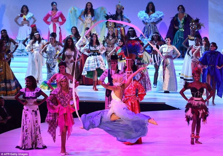 Spectacular: Miss Finland, Krista Haapalainen, centre, performs a dramatic dance and gymna...