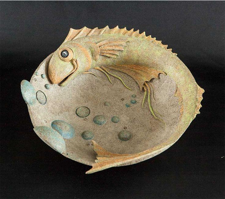 Handgefertigte Keramik, Keramikskulpturen aus Spijkenisse für den Innen- und …   – Fische
