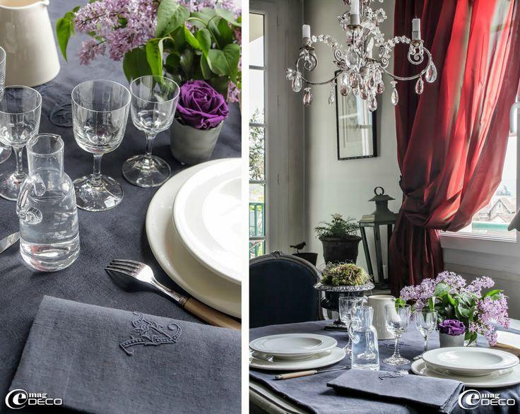 Table dressée avec de la vaisselle 'Côté Bastide' et des verres Lalique. Petit pot 'Eurydice' en ciment décoré d'une rose violette et de lierre stabilisés, création Bénédicte Patin