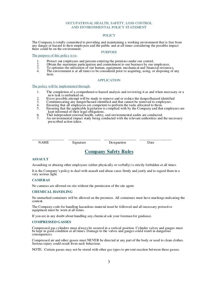 Image result for safety policy template in south africa ...