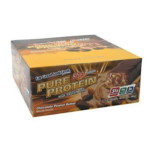 Worldwide Pure Protein High Protein Bar, Chocolate Peanut Butter, 2.75-Ounce Bars (Pack of 12) by WorldWide. $24.99. Amazon.com Product Description      High Protein Bar (78 grams)Chocolate Peanut ButterNaturally flavored Pure Protein Chocolate Peanut Butter Bars are loaded with 31 grams of high-quality protein and energy-supporting vitamins.Great-Tasting Bars Provide Quality ProteinThere are nine Pure Protein bar flavors that provide the quality protein essen...