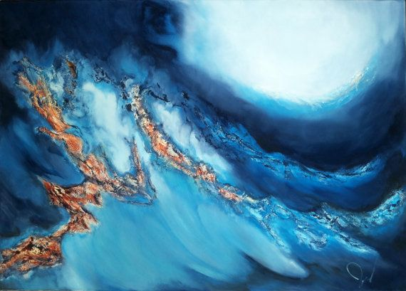 Title: Stormy Waters -Original fine art abstract oil painting on stretched canvas.  Size: 19 x 27 (50cm x 70cm), the canvas is 6/10 inch deep.