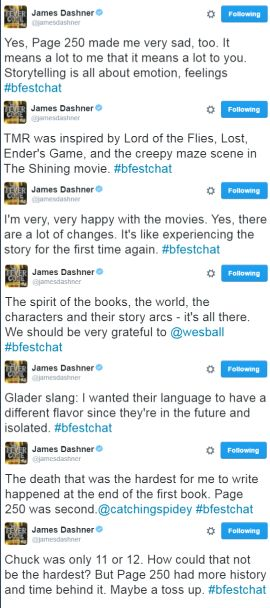 James Dashner about The Maze Runner books and movies during #bfestchat