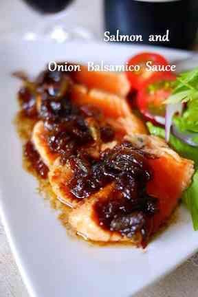 炙りサーモンの玉葱バルサミコソースの画像