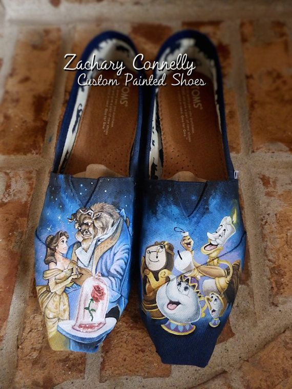 Omg these are stunning... beauty and the best hand painted toms    Hey, I found this really awesome Etsy listing at https://www.etsy.com/listing/186799553/disneys-beauty-and-the-beast-toms-shoes