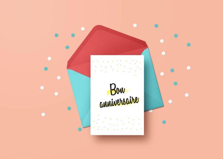 Carte de voeux Bon Anniversaire imprimable, Happy Birthday greeting card printable, carte de fête Bonne Fête, anglais et français inclus. par CreationAnnLatulippe sur Etsy https://www.etsy.com/ca-fr/listing/577395402/carte-de-voeux-bon-anniversaire