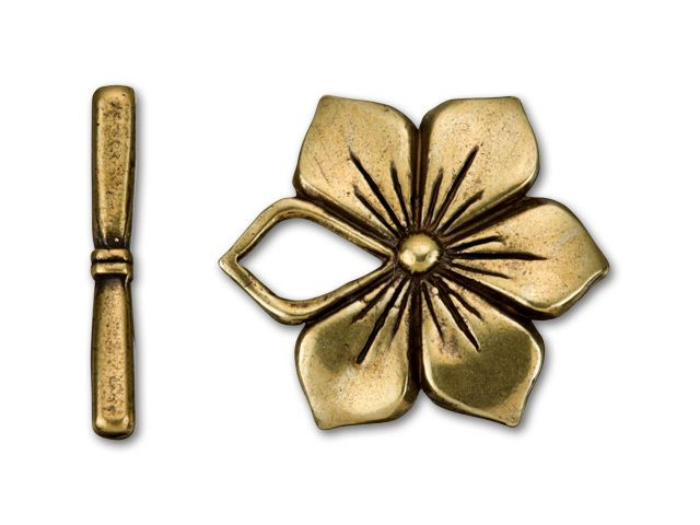 Antique Brass-Plated Pewter Flower Toggle Clasp
