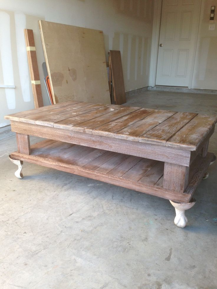 Coffee table made with some pallet wood and cedar.