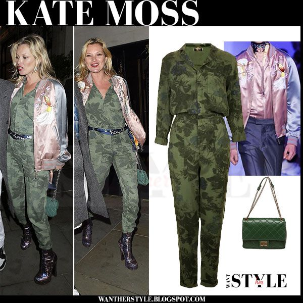Kate Moss in green camouflage jumpsuit with pink satin bomber jacket