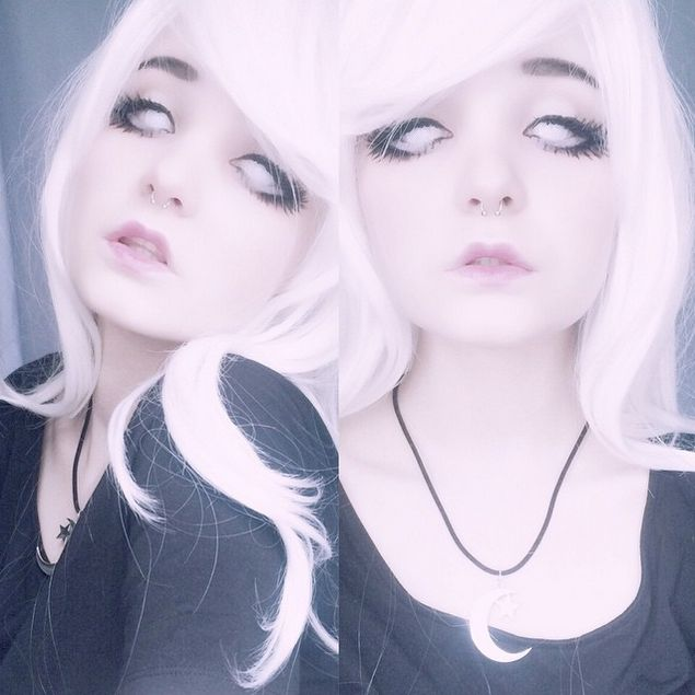 @milkwhore - instagram, black, white contacts, creepycool, beautiful, FAV, moon&star necklace, white hair, pastel, alternative