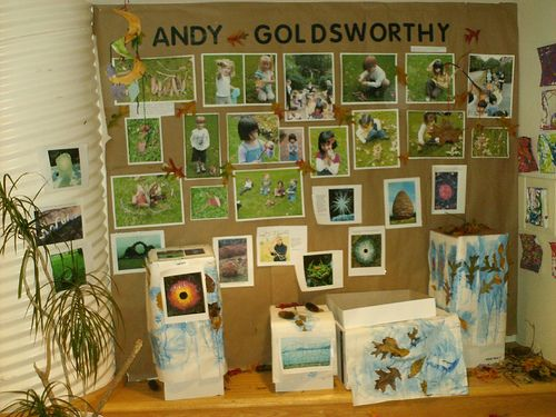 "This display includes pictures of the children  their work printed out,  photos  quotes from Goldsworthy. It also included leaves, pinecones, twigs  other natural materials  paintings made by the children using dyed glue  leaves they collected - by folkmew ("",)"