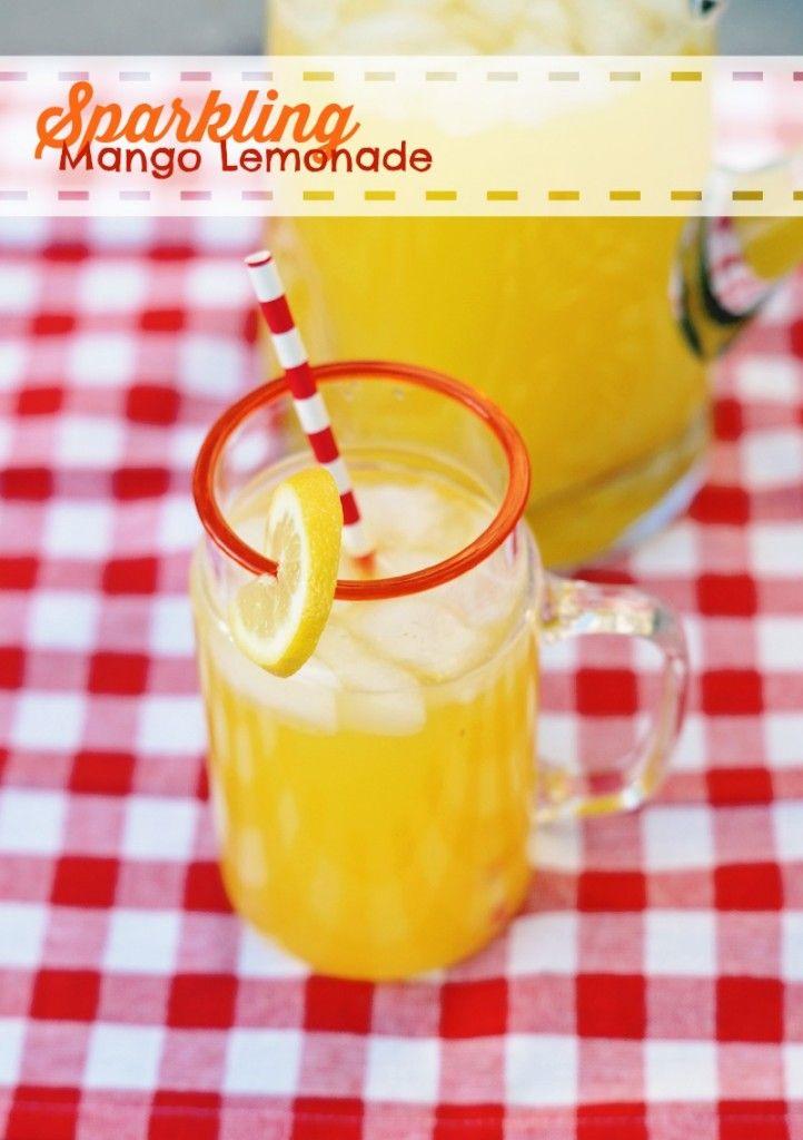 Sparkling Mango Lemonade, perfect summer drink.
