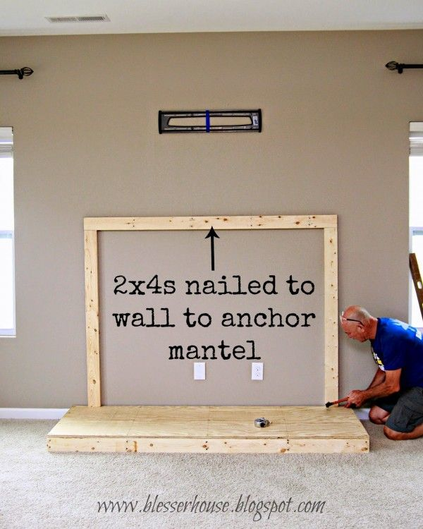 wall cleat for faux mantel fireplace - Blesser House featured on @Remodelaholic