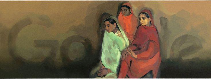 El doodle inspirado en 'Tres chicas', de Sher-Gil.