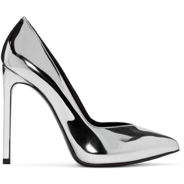 Saint Laurent Silver Paris Skinny Heels ($685) ❤ liked on Polyvore featuring shoes, pumps, heels, silver, silver pumps, silver pointy toe pumps, metallic pumps, pointed toe platform pumps and pointed toe pumps