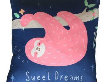 Decorative Cushions Sloth Sweet Dreams Size 50x50cm Blue Pink Pillows Home Decor Style Decoration Perfect Decorative Stylish Gift Idea