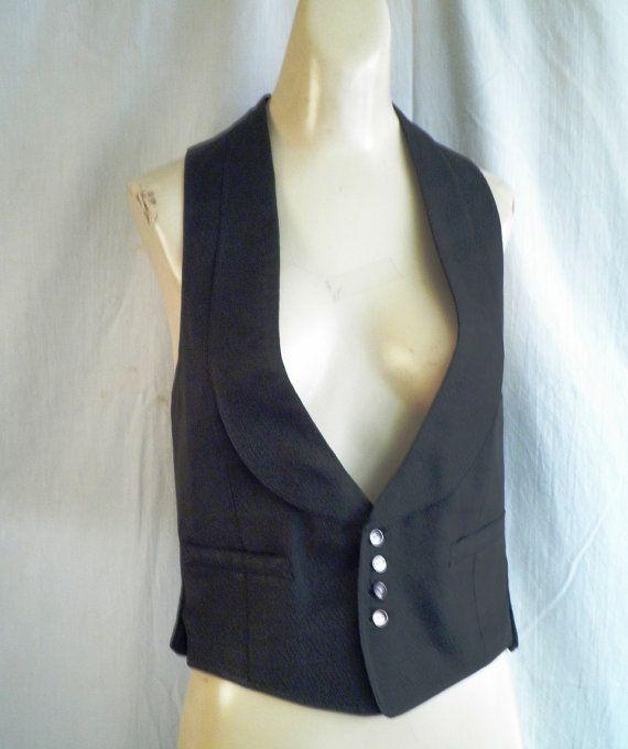274.73 kr. 1920s Man's Vest Vintage Black Silk Formal Vest by rue23vintage
