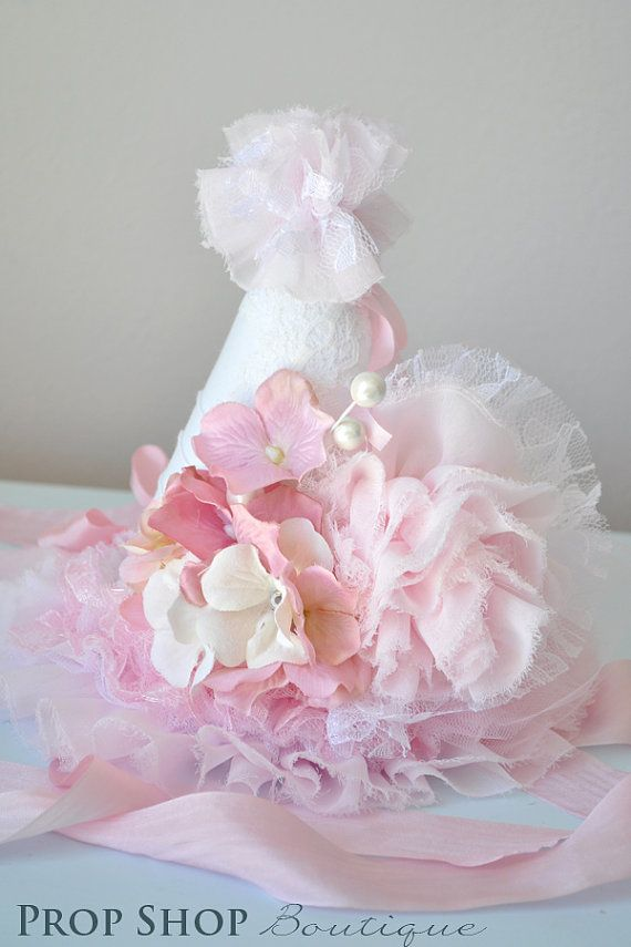 Girls+Shabby+Chic+Ruffle+Garden+Birthday+Hat+by+propshopboutique,+$50.00