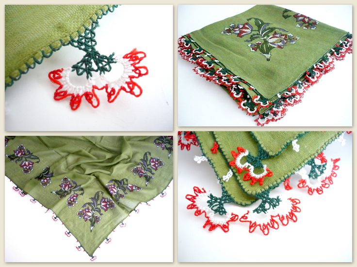 Turkish needle laced vintage scarf / Handicraft foulard / cotton, olive drab green, floral printed versatile kerchief / unique gift idea by TurkishHands on Etsy