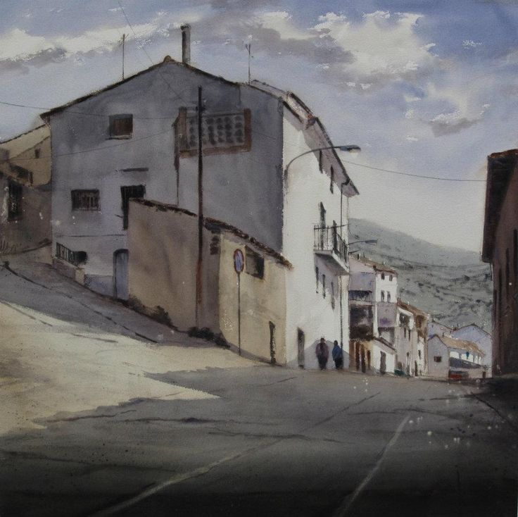 Painting Contest Ariño 2012 Acuarela/ watercolor 100 x 100 cm. Notice that he took out the overhead wires and the brightness of the sky and exaggerated the steepness of the hill, to make this a more dramatic, compelling scene.