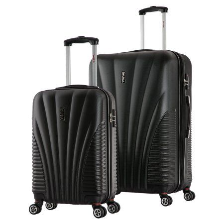 InUSA Chicago Collection Lightweight Hardside Spinner 2-Piece Set, 21 inch,25 inch, Black