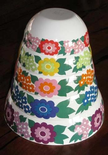 5 Nesting Bowls Arabia Finel Enamelware Kaj Franck Set 1960s