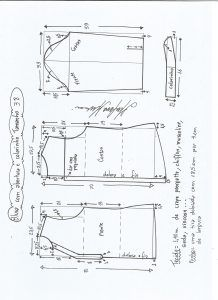 Блуза схема моделирования с открытием и средним воротником размер 38.